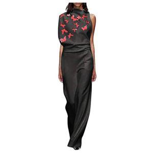 Jorich de mujer vestido y falda Combinaison pour Femme – Élégante et Longue – pour Femme – Style décontracté – sans Manches – Jumpsuit – Noir – XXX-Large