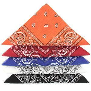 KARL LOVEN Lot de bandanas 100% Coton paisley foulard fichu bandana 25 couleurs au choix – Lot 5/10/20 (Lot de 5 Différents, Camaïeu Bleu Blanc Rouge)