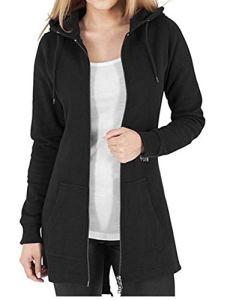Kidsform Femme Sweats à Capuche Automne Tops à Manches Longues Sweat-Shirt Sport Hooded Sweat-Shirt Pull Loisirs Noir 1 EU 40-42,L