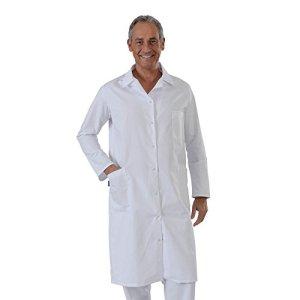 Label blouse Blouse Blanche manches manches longues chimie laboratoire médical Sergé 210 gramme Couleurs Blanc Pressions inoxydables Lavage Machine 90 degrés ou industriel T2-40/42