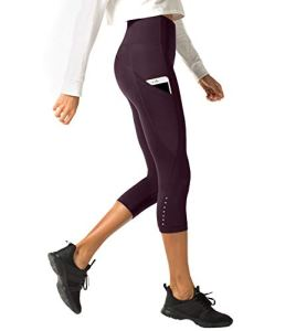 LAPASA Legging avec Poches Capri/Pantacourt de Sport Femme Coupe Genoux Amincissant – Yoga Fitness Jogging Gym L02 – Bordeaux (Poches Sur les Côtés) – Taille 36/S