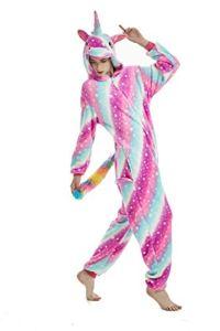 Licorne Adulte Flanelle Pyjama Combinaison Animaux Unicorn ,Rose Star,XL fit for Height 175-185CM (68.8po-72.8po)