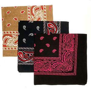 Lot de 3 bandanas – Écharpe unique en coton cachemire tête de poignet de cowgirl tête de cou