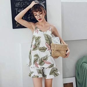 LSJSN Pyjama Femmes Coton Casual Homewear Loungewear Col V Vêtements De Nuit Été Belle Mignon Bow Shorts Sling Tops Flora Blanc-L