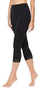Merry Style Legging 3/4 avec Dentelle Femme MS10-224 (Noir, 3XL)
