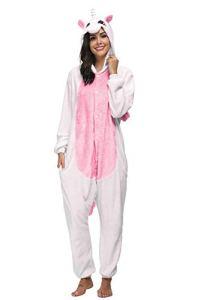 Mescara Licorne Pyjama Costume de Jumpsuit Cosplay Combinaison à Capuche Flanelle Carton Adulte Unisexe – – Large