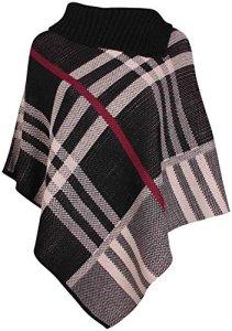 Mix lot nouvelle cascade de femmes dames poncho hiver au chaud tricoté cardigan aztèque diamant imprimé à rayures de pierre casual wear taille 36-42 (S/M 36-38, noir burberry haut)