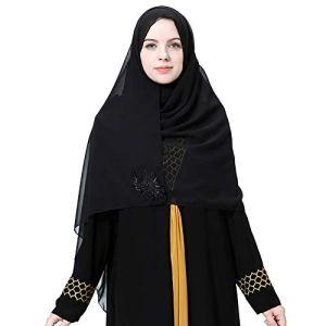 MoreChioce Hijab Femme Musulmane,Mousseline Long Foulard Écharpe Strass Perle Turban Islamique Chapeau Bandana Indienne Elegant Col Casquette Headwear Headwrap,Noir