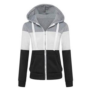 Newbestyle Femme Printemps Automne Hoodies Sweat-Shirt Manches Longues à Capuche Vestes Zipper Sweatshirts (2XL, Gris Clair)