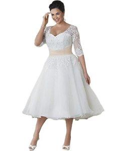 NUOJIA Robe de mariée en Dentelle – Blanc – 34
