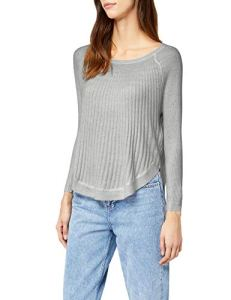 Only Onlnew Bridget Rib 7/8 Pullover KNT Noos Pull, Gris (Light Grey Melange), 34 (Taille Fabricant: X-Small) Femme