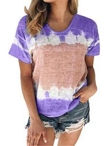 Onsoyours T-Shirts Chic Femmes Blouse Col Rond Top Manches Courtes Imprimé Hauts Grande Taille Tops de Plage Casual Loose Eté Tee Shirt Violet 48