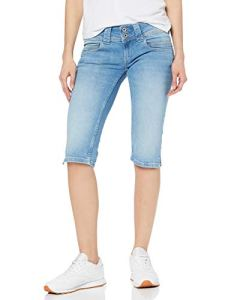 Pepe Jeans Venus Crop Short, Bleu (Light Used Denim Me2), W34 (Taille fabricant:34) Femme