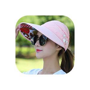 Pink-star 1 Chapeau de Soleil pour Femme avec visière de Soleil à Large Bord – – Taille Unique