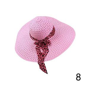 Pink-star Chapeau de Plage pour Femme Derby Large Bord Floppy Pliable été bohème Soleil – Rose – Taille Unique