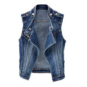 Printemps et Automne Femmes jUPC Veste Veste Courte Veste Slim sans Manches Denim Veste Casual Femme Gilet Grande Taille – Bleu – XXX-Large