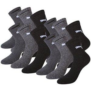 Puma Crew Lot de 12 paires de chaussettes de sport avec dessous en éponge Unisexe Gris anthracite / grey 35-38