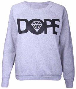 Purple Hanger – Sweat pour femme logo imprimé Dope avec diamant longue manche – 40-42, Gris clair