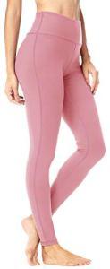 QUEENIEKE Leggings Yoga avec Poches Classique Tummy Control Pantalon de Course Taille Moyenne Collants d'entraînement pour Femmes Couleur La Poudre La Taille XXL
