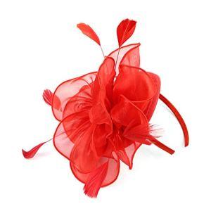 Samidy – Chapeau bibi en plume et en maille avec un voile – Motif : Fleur – Avec une pince et un bandeau – Pour femme – Rouge – Large