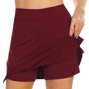 Selotrot Femme Anti-frottement Crayon Jupes avec Short Tennis Golf Entraînement Sports Pantskirts – Vin Rouge, M