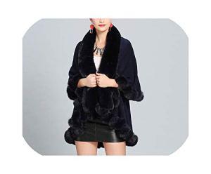 Small-lucky-shop Poncho chaud chaud en faux renard 2 couches Cape Cape oversize Pull tricoté – Bleu – taille unique