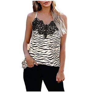 Smony Camisole d'été pour Femme Imprimé léopard Sexy décontracté sans Manches, Grande Taille Sling T-Shirts à lanières lâches pour la Plage, Les Vacances, UK Plus Taille 36-42 – Jaune – 44