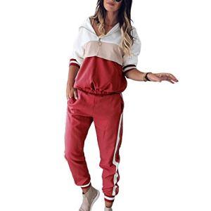 Snsunny – Combinaison de Sport 2 pièces – pour Femme – Rouge – 44