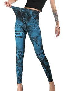 SOWTKSL Leggings sans Couture pour Femme Imprimé Jeans Faux Jeans – – M