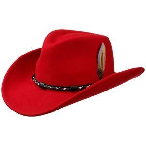 Stetson Chapeau Amasa Western VitaFelt de Cowboy (M (56-57 cm) – Rouge)