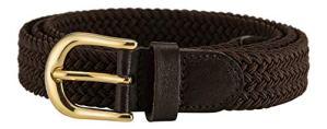 Streeze ceinture élastique pour femmes. 5 tailles. Extensible et tressée. 25 mm de largeur avec boucle en or (Marron, XS)