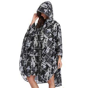 Summer Mae Imperméable Poncho avec Capuche Zip pour Adulte Street-Style Noir Large