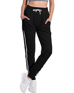 SUNNYME Femme Pantalon de Sport Jogging Yoga Pants Rayé Y-Noir XL