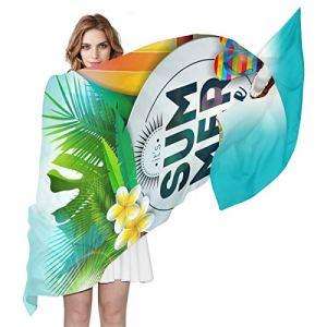 Swere Écharpe pour femme – Longue et douce – Élégante – Accessoires pour femme – Foulard – Cadeau de fête – Fleur tropicale – Feuilles de palmier – 70,9 x 35,4 cm