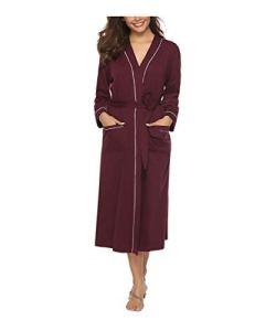Sykooria Femmes Peignoirs de Bain en Tricot Coton Casual l'hôtel Spa Sauna Vêtements de Nuit avec 2 Poches Manches Longues, Rouge Vineux, XXL