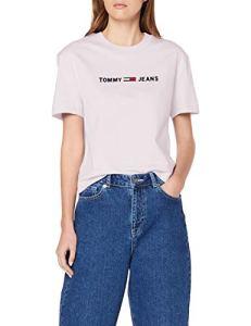 Tommy Jeans Tjw Clean Linear Logo Tee T-Shirt, (White Ya2), Medium Femme