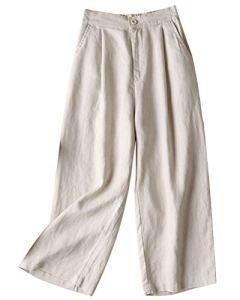 Tomwell Femme Été Décontractée Coton Lin Ample Pantalon Léger Cordon Élastique Solide Couleur Pantacourt Sport Pants 7/8 Longueur Pants Kaki Clair XXL