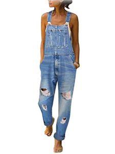 Tomwell Femme Salopette Jeans Combinaison Denim Boyfriend Slim Jumpsuit Pantalon Casual Lâche pour Printemps Automne A Bleu Clair M