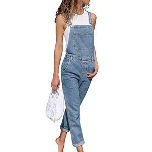Tomwell Femme Salopette Jeans Combinaison Denim Boyfriend Slim Jumpsuit Pantalon Casual Lâche pour Printemps Automne Bleu Clair 44