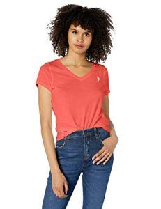 U.S. Polo Assn. T-shirt à manches courtes col en V pour femme – Orange – Taille L