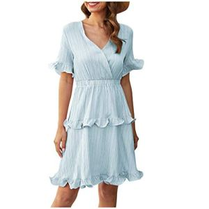 WINJIN Robe Boho Femme Robe Mini Casual Robe Sexy Robe de Soiree Vintage Robe de Plage Ete Petite Robe Robe de Bal Robe Manches Courtes Robe à Volants Chic Petite Robe
