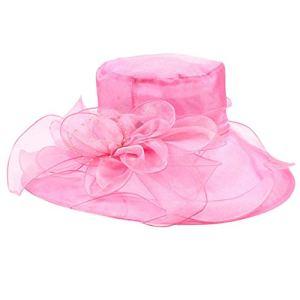XuanhaFU Femmes Chapeau De Mariage Pliable Big Sun Hat Couleur Unie Élégant Casquette(Rose Vif,Taille Unique