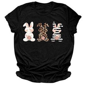 Yolmook Manche Courte Chemise Femme Manches Lache Pâques Grande Taille Blouse T-Shirt Lapin Imprimer -Femme Tops à Manches Courtes T-Shirt décontracté à col en O Short Sleeve Blouse Tops