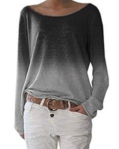 Zanzea Femmes Pull Automne Casual Vrac Lâche Chemise Manches Longues Fleuri Imprimé Dégardé Coton T-Shirt Top Blouse Shirt Grande Taille Z-imprimé-Style 10 M