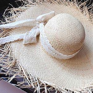 ZZKHSM Chapeau de Paille en Dentelle à la Main pour Femmes