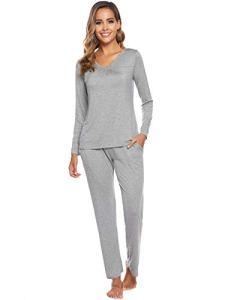 ARBLOVE Pyjama Femmes Hiver Coton Longue Pyjama Ensemble Haut et Bas Vêtement d'intérieur Femme, A-gris Clair, M