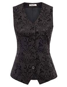 GRACE KARIN Gilet de Costume Slim Vintage Medieval Jacquard sans Manche Col V Boutonne Gilet Floral pour Femme Noir XL CL949-1