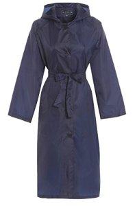 Hari Deals Trench-coat long à capuche pour femme, ultraléger et imperméable – Bleu – 48