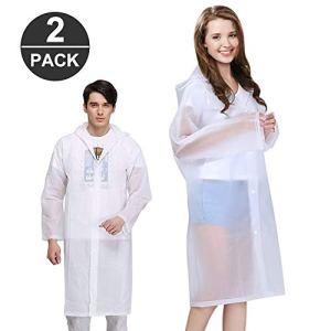 Jooheli 1 Poncho de Pluie pour Femme Transparent Imperméable Imperméable Veste de Pluie pour Homme Eva Raincoat Cape de Pluie avec Sac de Transport Taille Unique Blanc.