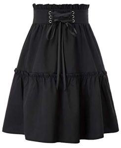 KANCY KOLE Jupe Gohique Femme Noir Vintage Jupe Plissee Mi Longue Laçage à l'avant M KCS2101-1